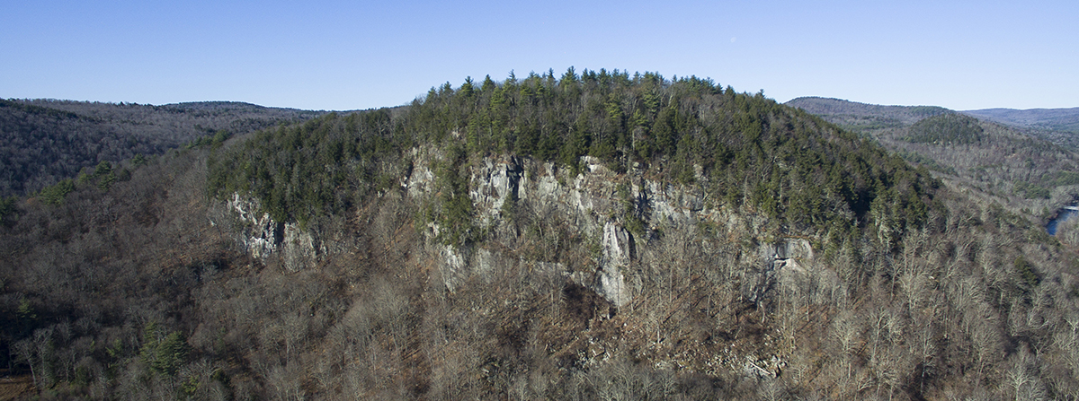 Arial view of Hanging Mountain cliff.