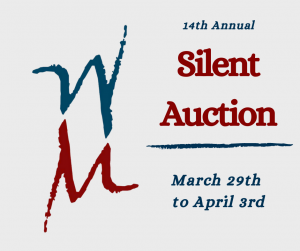 "Western Mass Logo (stacked W and M) with the words ""14th Annual Silent Auction - March 29th-April 3rd"""