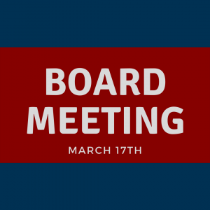"""Blue and red background with words """"Board meeting, March 17th"""""""